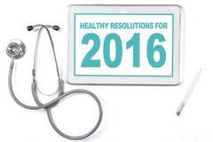 Tableta con la resolución sana para 2016 Imagen de archivo