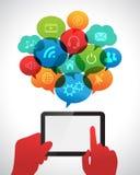 Tableta con las burbujas del discurso Foto de archivo libre de regalías