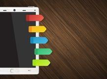 Tableta con las etiquetas engomadas coloridas Imagen de archivo