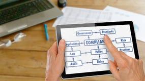 Tableta con las manos que investigan conformidad imagen de archivo libre de regalías