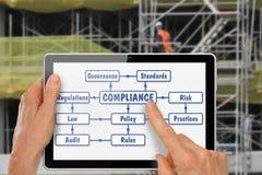Tableta con las manos que investigan la construcción de la conformidad imagen de archivo libre de regalías
