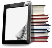 Tableta con las páginas y los libros Foto de archivo libre de regalías