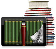 Tableta con las páginas y los libros Imagen de archivo libre de regalías