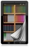 Tableta con las páginas y la biblioteca Fotos de archivo libres de regalías