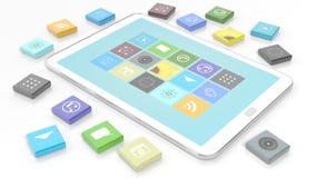 Tableta con los apps en forma de un cuadrado biselado libre illustration