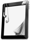 Tableta con los auriculares Imagenes de archivo