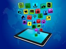 Tableta con los iconos del negocio ilustración del vector