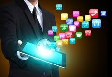 Tableta con los iconos del uso fotos de archivo libres de regalías