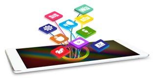 Tableta con los iconos del uso Imagen de archivo
