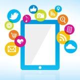 Tableta con los medios iconos Foto de archivo libre de regalías