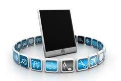 Tableta con símbolos del app Fotos de archivo