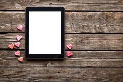Tableta de Digitaces con la pantalla aislada Imágenes de archivo libres de regalías