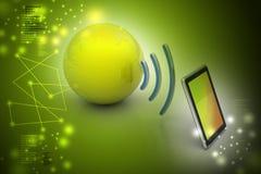 Tableta de Digitaces con tierra, y símbolo Wi-Fi Fotografía de archivo