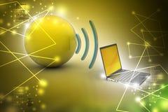 Tableta de Digitaces con tierra, y símbolo Wi-Fi Imagenes de archivo