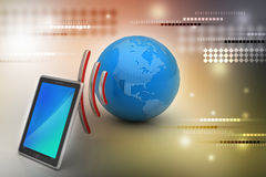 Tableta de Digitaces con tierra, y símbolo Wi-Fi Fotografía de archivo libre de regalías