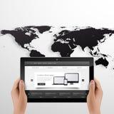 Tableta de Digitaces y ejemplo fotorrealista del vector de las manos EPS 10 libre illustration