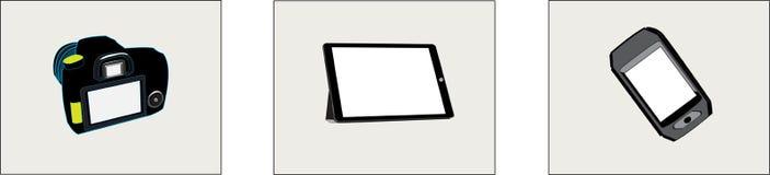 Tableta de la cámara y pantalla blanca del teléfono stock de ilustración
