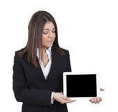 Tableta de la demostración de la empresaria imagen de archivo libre de regalías