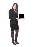 Tableta de la demostración de la empresaria imagen de archivo
