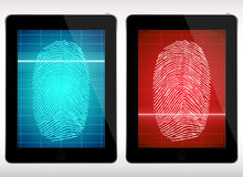 Tableta de la exploración de la huella dactilar - ejemplo Imagenes de archivo