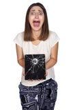Tableta de la mujer joven Imagen de archivo libre de regalías