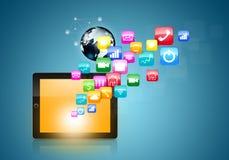 Tableta de la pantalla táctil con los iconos del uso Foto de archivo libre de regalías