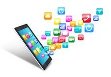 Tableta de la pantalla táctil con los iconos del uso stock de ilustración