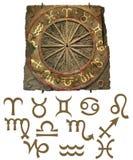 Tableta de la piedra del zodiaco con símbolos Fotos de archivo