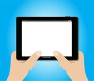 Tableta de la tenencia de dos manos Imagen de archivo libre de regalías