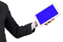 Tableta de la tenencia de Hand del hombre de negocios Imagen de archivo libre de regalías