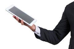 Tableta de la tenencia de Hand del hombre de negocios Fotografía de archivo libre de regalías