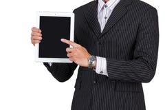 Tableta de la tenencia de Hands del hombre de negocios Foto de archivo