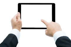 Tableta de la tenencia de Hands del hombre de negocios foto de archivo libre de regalías