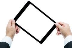 Tableta de la tenencia de Hands del hombre de negocios fotografía de archivo