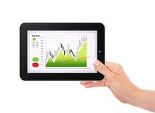 Tableta de la tenencia de la mano con la carta del mercado de acción aislada sobre blanco Foto de archivo libre de regalías