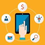 Tableta de la tenencia de la mano con la comunicación de los iconos en el concepto de la red Fotografía de archivo libre de regalías