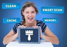 Tableta de la tenencia de la mujer con los botones y el cepillo limpios de exploración del escondrijo ilustración del vector