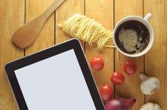 Tableta de las recetas de la comida Imagen de archivo libre de regalías