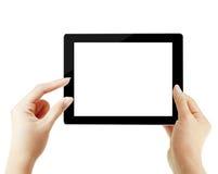 Tableta de tacto en manos Fotografía de archivo libre de regalías