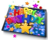 Tableta del feliz cumpleaños Fotografía de archivo libre de regalías