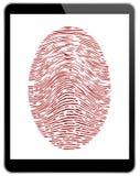 Tableta del negro del negocio con el acceso de la huella dactilar Fotografía de archivo