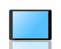 Tableta del ordenador con la pantalla azul en blanco Imagenes de archivo