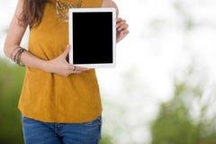 Tableta del ordenador del control de la mujer de negocios con el fondo del árbol de la falta de definición Imagen de archivo