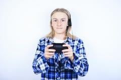 Tableta del retrato del muchacho Fotografía de archivo libre de regalías