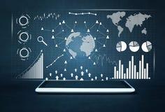 Tableta digital blanca Estadísticas financieras, gráficos de negocio, red social y conexión foto de archivo libre de regalías