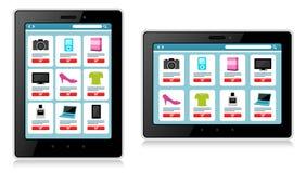 Tableta, dispositivo móvil, compras en línea stock de ilustración