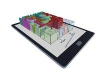 tableta 3Ds con el juego del laberinto Foto de archivo libre de regalías