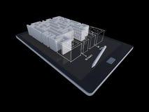 tableta 3Ds con el juego del laberinto Foto de archivo