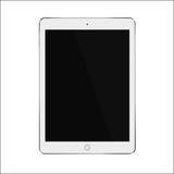 Tableta elegante realista blanca con la pantalla negra en blanco Ilustración EPS 10 del vector Fotos de archivo libres de regalías
