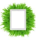 Tableta en hierba verde fresca Imágenes de archivo libres de regalías